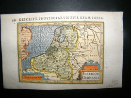 Bertius 1616 Hand Col Map. Inferior Germania. Holland, Germany, Luxemburg